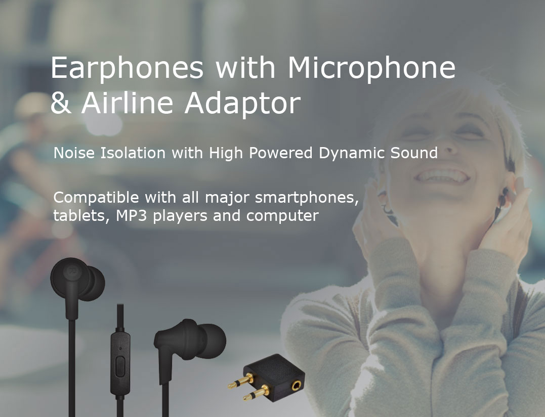Travel Ready - Earphones With Microphone And Airline Adaptor
